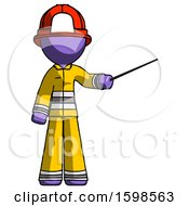 Purple Firefighter Fireman Man Teacher Or Conductor With Stick Or Baton Directing
