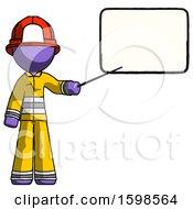 Purple Firefighter Fireman Man Giving Presentation In Front Of Dry Erase Board
