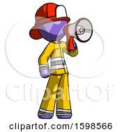 Purple Firefighter Fireman Man Shouting Into Megaphone Bullhorn Facing Right