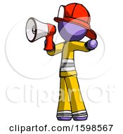 Purple Firefighter Fireman Man Shouting Into Megaphone Bullhorn Facing Left