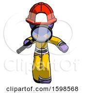 Purple Firefighter Fireman Man Looking Down Through Magnifying Glass