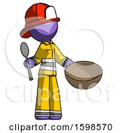 Purple Firefighter Fireman Man With Empty Bowl And Spoon Ready To Make Something