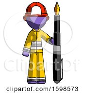 Poster, Art Print Of Purple Firefighter Fireman Man Holding Giant Calligraphy Pen