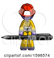 Purple Firefighter Fireman Man Weightlifting A Giant Pen