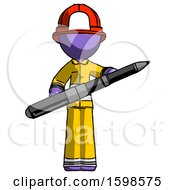 Purple Firefighter Fireman Man Posing Confidently With Giant Pen