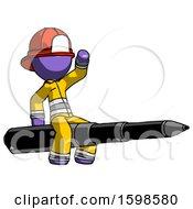 Purple Firefighter Fireman Man Riding A Pen Like A Giant Rocket