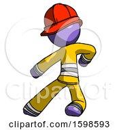 Purple Firefighter Fireman Man Karate Defense Pose Left