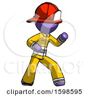 Purple Firefighter Fireman Man Martial Arts Defense Pose Right