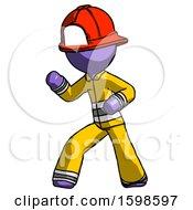 Purple Firefighter Fireman Man Martial Arts Defense Pose Left