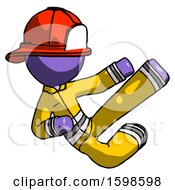 Purple Firefighter Fireman Man Flying Ninja Kick Right