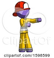 Purple Firefighter Fireman Man Presenting Something To His Left