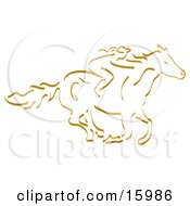 Girl Horseback Riding Clipart Illustration