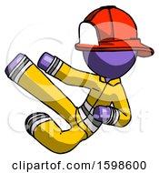 Purple Firefighter Fireman Man Flying Ninja Kick Left