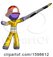 Poster, Art Print Of Purple Firefighter Fireman Man Pen Is Mightier Than The Sword Calligraphy Pose