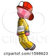Pink Firefighter Fireman Man Floating Through Air Left