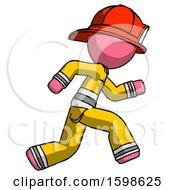 Pink Firefighter Fireman Man Running Fast Right