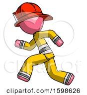 Pink Firefighter Fireman Man Running Fast Left
