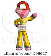 Pink Firefighter Fireman Man Waving Left Arm With Hand On Hip