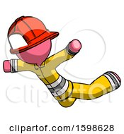 Pink Firefighter Fireman Man Skydiving Or Falling To Death
