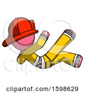 Pink Firefighter Fireman Man Falling Backwards