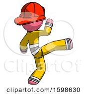 Pink Firefighter Fireman Man Kick Pose