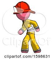 Pink Firefighter Fireman Man Suspense Action Pose Facing Left
