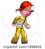 Pink Firefighter Fireman Man Suspense Action Pose Facing Right