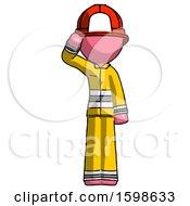 Pink Firefighter Fireman Man Soldier Salute Pose