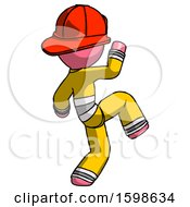 Pink Firefighter Fireman Man Kick Pose Start