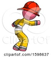 Pink Firefighter Fireman Man Sneaking While Reaching For Something