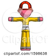 Pink Firefighter Fireman Man T Pose Arms Up Standing