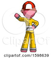 Pink Firefighter Fireman Man Waving Right Arm With Hand On Hip