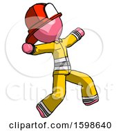 Pink Firefighter Fireman Man Running Away In Hysterical Panic Direction Right