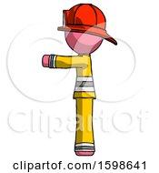 Pink Firefighter Fireman Man Pointing Left