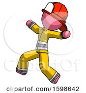 Pink Firefighter Fireman Man Running Away In Hysterical Panic Direction Left