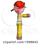 Pink Firefighter Fireman Man Pointing Right