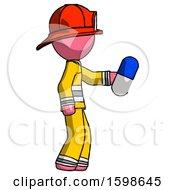 Pink Firefighter Fireman Man Holding Blue Pill Walking To Right
