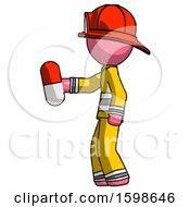 Pink Firefighter Fireman Man Holding Red Pill Walking To Left