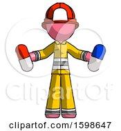 Pink Firefighter Fireman Man Holding A Red Pill And Blue Pill