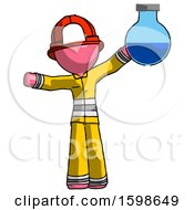 Pink Firefighter Fireman Man Holding Large Round Flask Or Beaker