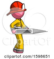 Pink Firefighter Fireman Man Walking With Large Thermometer