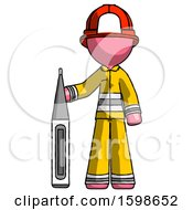 Pink Firefighter Fireman Man Standing With Large Thermometer