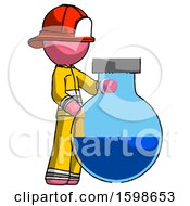 Pink Firefighter Fireman Man Standing Beside Large Round Flask Or Beaker
