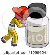 Pink Firefighter Fireman Man Pushing Large Medicine Bottle
