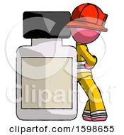 Pink Firefighter Fireman Man Leaning Against Large Medicine Bottle