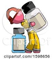 Pink Firefighter Fireman Man Holding Large White Medicine Bottle With Bottle In Background