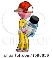 Pink Firefighter Fireman Man Holding Glass Medicine Bottle