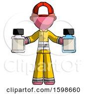 Pink Firefighter Fireman Man Holding Two Medicine Bottles