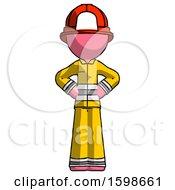 Pink Firefighter Fireman Man Hands On Hips