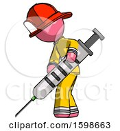 Pink Firefighter Fireman Man Using Syringe Giving Injection